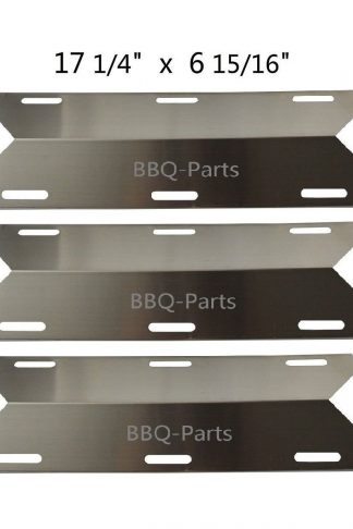 Hongso SPA241 (3-pack) Stainless Steel Heat Plate, Heat Shield, Heat Tent, Burner Cover Replacement for Charmglow, Costco Kirkland, Nexgrill, Sterling Forge, Lowes Model Grills (17 1/4 x 6 15/16)