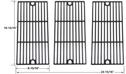 Porcelain Cast Iron Cooking Grid for Coleman 461230403, Charbroil 463240804, 463252005, 463252105, 463253905, 463254405 and Broil King Gas Grill Models, Set of 3