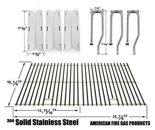 Repair Kit for Jenn Air 720-0336, 7200336, 720 0336 BBQ Gas Grill Includes 3 Stainless Burner, 3 Stainless Heat Plate and Stainless Cooking Grates