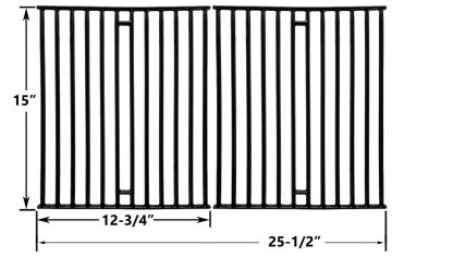 Replacement Porcelain Cast Iron Cooking Grids For Broil King 945584, 945587, Huntington, Silver Chef, Sterling and Broil-Mate 115554, 115557 Gas Grill Models, Set of 2