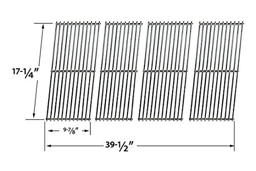 Replacement Stainless Steel Cooking Grid for Aussie 69F6U00KS1, Duro 780-0390 and Tera Gear 780-0390 Gas Grill Models, Set of 4