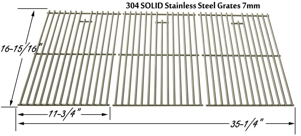 Stainless Cooking Grid for Brinkmann 4615, River Grille GR1031-012965, Nexgrill 720-0419, 720-0459 & North American Outdoors 720-0459, BB10837A Gas Grill Models, Set of 3