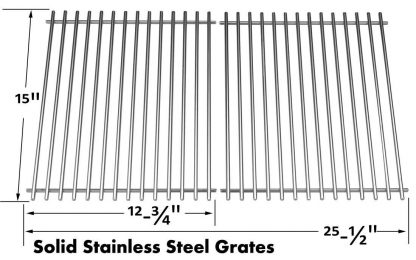 Stainless Cooking Grids For Broil King 945584, 945587, Huntington, Silver Chef, Sterling and Broil-Mate 115554, 115557 Gas Grill Models, Set of 2