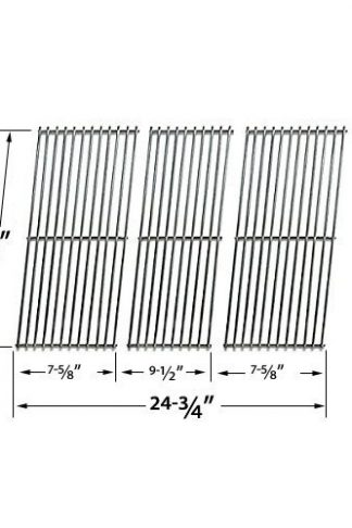 Stainless Steel Cooking Grid for BBQ Galore XC03WN and Kenmore 119.162300, 119.16240, 119.162310, 119.16311, 119.163118, 16311, 119.16311800, 119.16312800, BQ06W1B Gas Grill Models, Set of 3