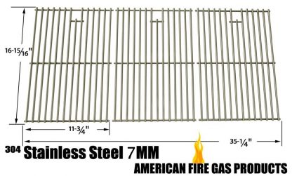 Stainless Steel Cooking Grid for Master Chef 85-3008-4, Brinmkann, Nexgrill 720-0419, 720-0459 and North American Outdoors 720-0419, 720-0459 Gas Grill Models, Set of 3