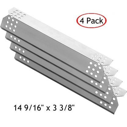 YIHAM KS708 Stainless Steel Grill Heat Plate Shield, Burner Cover, Flame Tamer, Gas BBQ Replacement Parts for Grill Master 720-0697, 720-0737 and Nexgrill Models, 14 9/16 inch x 3 3/8 inch, Set of 4