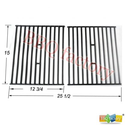bbq factory® JGX362 Porcelain Cast Iron Cooking Grid Grate Replacement for Select Gas Grill Models by Broil King, Broil-Mate and Others, Set of 2
