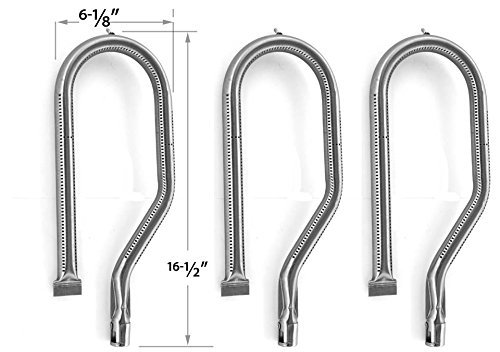 3 Pack Stainless Steel Replacement Burner for Kirkland 778627, Kirkland sku778627, Harris Teeter 210001, Sterling 778627, Nexgrill 720-0008-t, 720-0011, 720-0108 & Forge Courtyard 2404 Gas Models.