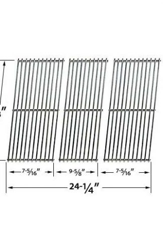 Stainless Steel Replacement Cooking Grid for Master Forge IGS-01015J, Great Outdoors 432SL, BBQ Pro BQ05041-28, BQ51009 and Kenmore 119.162310, BQ06W1B Gas Grill Models, Set of 3
