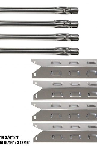 Hisencn 4Pack BBQ Grill Stainless Steel Grill Burner, Stainless Steel Heat Plates Heat Shield, Burner Cover Replacement for Select BBQ-pro 146.2367631, Kenmore,Kenmore Continued Gas Grills Mode