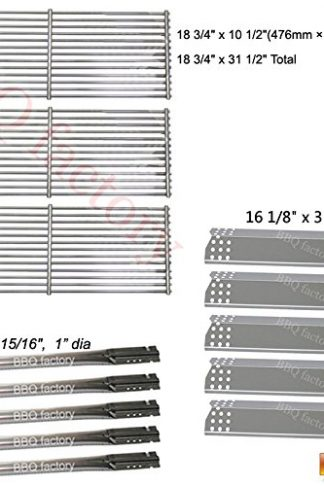 bbq factory Replacement Jenn-Air 720-0727, 720-0709 , 720-0709B, 5 Burner Gas BBQ Grill Replacement Kit Stainless Steel Burner, Stainless Steel Heat Plate, Stainless Steel Cooking Grid