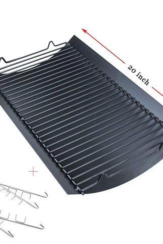 "Hisencn 20"" Aluminized Steel Drip Ash Pan Replacement for Chargriller 5050, 5072, 5650 Charcoal Grills Grill Grates Parts with 2pcs Fire Grate Hanger, 200157, 20 inch"