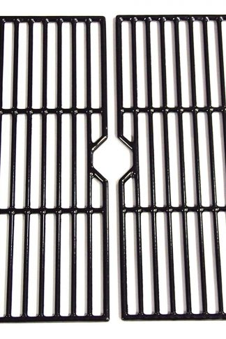 Hongso PCF123 Porcelain Coated Cast Iron Cooking Grid Grates Replacement for Select Gas Grill Models by Kenmore, Charbroil, Thermos, Set of 2