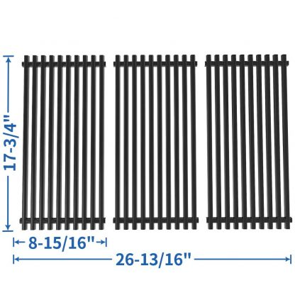 SHINESTAR Grill Grates Replacement for Brinkmann 810-2512-S Grates, 810-2511-S, 810-2410-S, 810-8411-5, 810-9415-W Grill Parts, 3 pcs Porcelain-Enameled Steel 17-3/4 x 26-13/16 inch BBQ Cooking Grates