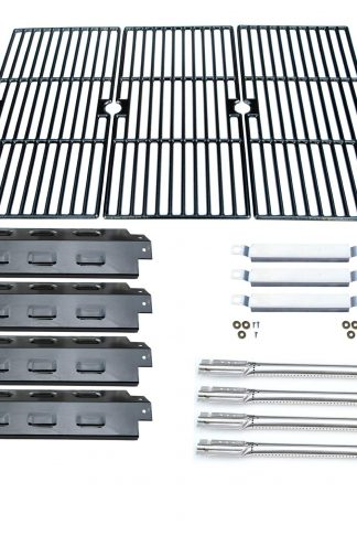 Direct Store Parts Kit DG158 Replacement Charbroil 463420507,463420509,463460708,463460710 Gas Grill(SS Burner+SS Carry-Over Tubes+Porcelain Steel Heat Plate+Porcelain Cast Iron Cooking Grid)