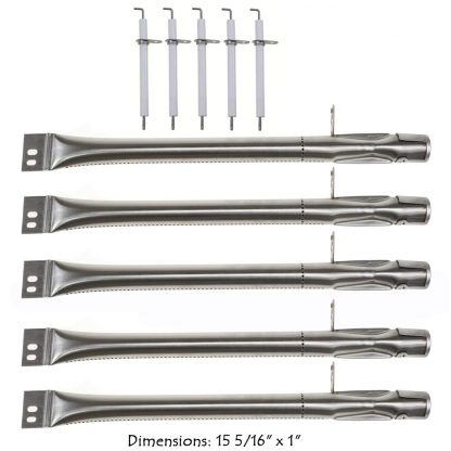 Hisencn Stainless Steel Grill Burner Pipe Tube, Igniter Electrode Replacement Parts for Brinkmann 810-2511-S, 810-2512-S, 810-3660-S, 810-4220-S & More Gas Grill Models