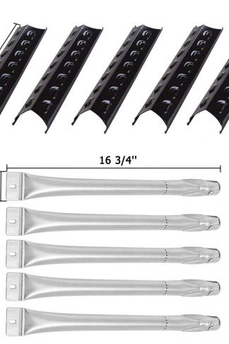 SHINESTAR Grill Replacement Parts for Master Forge 3218LT, 3218LTN, 3218LTM, L3218, 2518-3, Porcelain Steel 15-3/8 inch Heat Shield Plate Tents Flame Tamers + 16 3/4 inch Burner Tubes