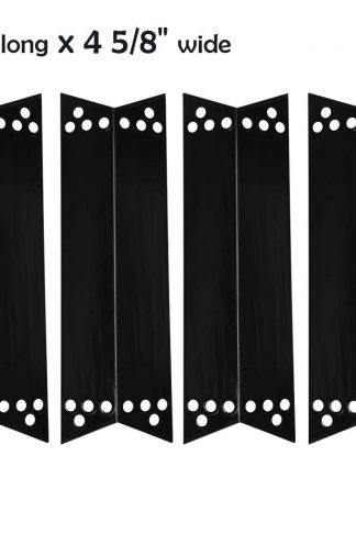 YIHAM KP758 BBQ Heat Diffuser for Sears Kenmore Grill Parts, Heat Shield Plate Replacement, Burner Cover Flame Tamer Deflector for Charbroil Nexgrill, 15 inch x 4 5/8 inch, Porcelain Steel, Set of 4