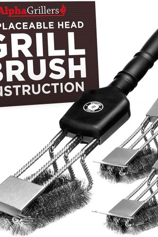 Alpha Grillers Grill Brush & Scraper with 3 Replaceable Heads | Best BBQ Cleaner. Perfect Tools for All Grill Types | Stainless Steel Wire Bristles and Stiff 18 Inch Handle. Ideal Barbecue Accessories