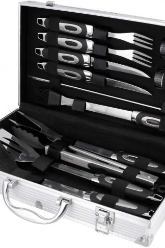 BBQ Masters 16 Piece Professional BBQ Grill Tool Set with Storage Case, Heavy Duty Stainless Steel