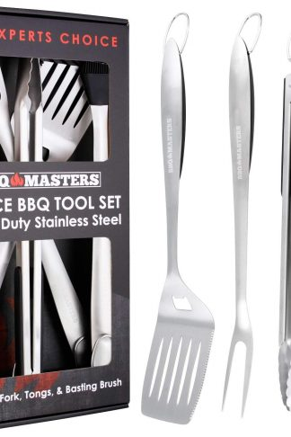 "BBQ Masters Heavy Duty 4 Piece BBQ Grilling Tools Set - Extra Thick Stainless Steel Barbecue Grill Accessories - 18"" Spatula, Tongs, Fork and Basting Brush Utensils"