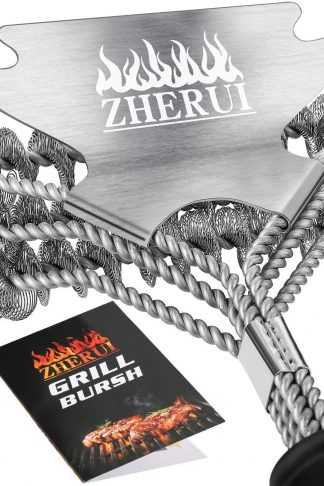 Bristle Free Grill Brush, ZheRui BBQ Grill Cleaner Brush and Scrapers Safe Cleaning Rust Resistant Stainless Steel Grilling Accessories Barbecue Cleaner Tool for Weber Genesis Charcoal Porcelain Grill