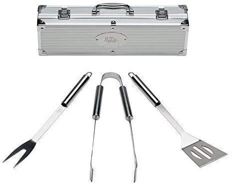 Home Solutions Grill Tools Set with Barbecue Accessories - Stainless Steel BBQ Utensils with Aluminum Case - Grilling Kit & Gifts for Men (3-Piece)