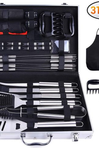 Ohuhu 31-PCS BBQ Tool Set, Grill Accessories Set Heavy Duty Stainless Steel, Barbecue Grill Utensils with Aluminium Case, Grilling Tools with Barbecue Claws Perfect BBQ Gift Set for Men Birthday Gift