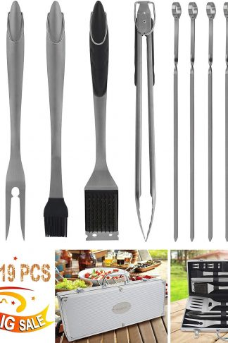POLIGO 19PCS BBQ Grill Tools Set Extra Thick Stainless Steel Barbecue Grilling Accessories Set with Aluminum Case for Camping - Outdoor Grill Utensil Kit Ideal on Christmas Birthday Gifts Set for Men