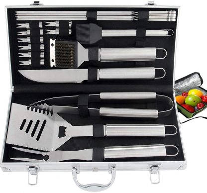 ROMANTICIST 20pc Heavy Duty BBQ Grill Tool Set with Cooler Bag - Great Grill Gift Set for Men Women on Birthday Wedding - Outdoor Camping Tailgating Barbecue Grill Accessories in Aluminum Case