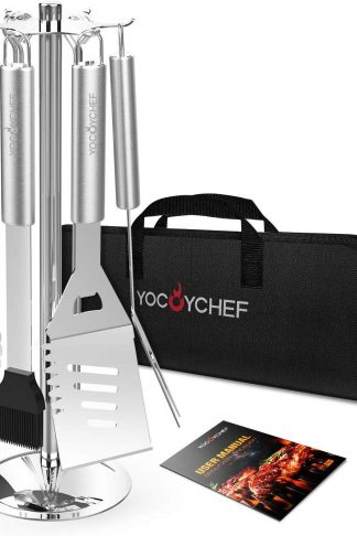 YOCOYCHEF Grill Tools Set - Carousel Stainless Steel BBQ Grilling Accessories with Stand - 13-Piece Heavy Duty Barbecue Tool Utensils in Gift Case for Men, Dad, Women