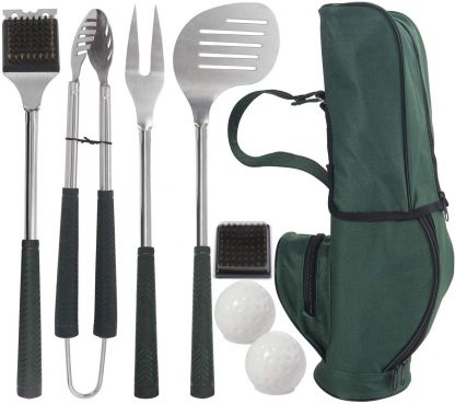 grilljoy 8pc Golf-Club Style BBQ Accessories with Long Heat Proof Grips, Heavy Duty Stainless Steel Grilling Accessories in Golf-Club Bag, Perfect BBQ Grilling Tools Set Gift for Men Dad on Birthday