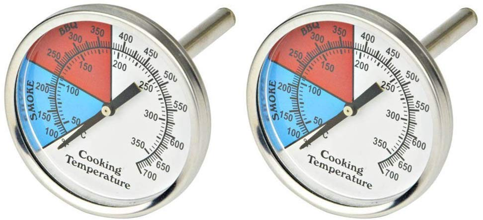 "Onlyfire Professional BBQ Charcoal Smoker Gas Grill Dia 2"" Thermometer (2-Pack) Temperature Gauge"