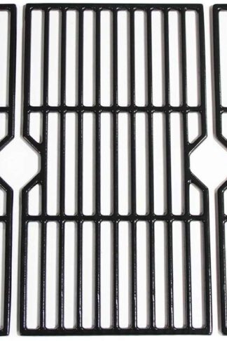 "Hongso 16 7/8"" Polished Porcelain Coated Cast Iron Gas Grill Grates Replacement for Charbroil 463436213, 463436214, 463436215, 463420508, 463420509, 463440109, 463441312, 463441514 Grills, PCH763"