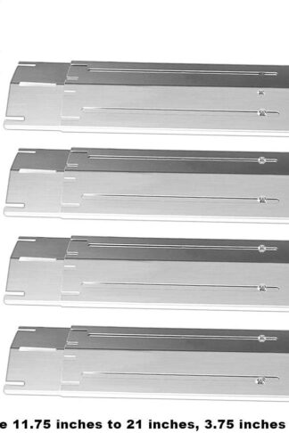 "Universal Repair Replacement Adjustable Stainless Steel Heat Plate Shield, Heat Tent, Flavorizer Bar, Burner Cover, Flame Tamer for Gas Grill Models, Extends from 11.75"" up to 21"" L, 4 Pack"