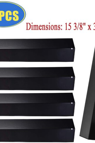 "Bigbox Set of 5 Heat Plate Shields for Brinkmann 810-3660-S, 810-2511-S, 810-2512-S Grill Replacement Parts, 15 3/8"" Porcelain Steel Gas Grill Heat Tent Flame Tamer Replacement for Uniflame, Aussie."