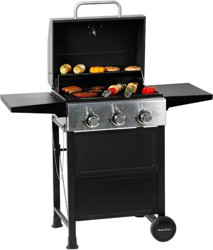 MASTER COOK 3 Burner BBQ Propane Gas Grill, Stainless Steel 30,000 BTU Patio Garden Barbecue Grill with Two Foldable Shelves