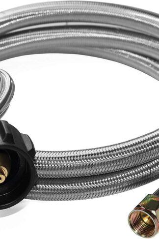 "DOZYANT 5 Feet Universal QCC1 Low Pressure Propane Regulator Replacement with Stainless Steel Braided Hose for Most LP Gas Grill, Heater and Fire Pit Table, 3/8"" Female Flare Nut, SS"