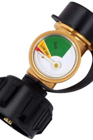 GASLAND Propane Tank Gauge, QCC1/Type1 Propane Adapter Fittings with Gauge, LP Gas Leak Detector Gauge, Propane Gauge Grill Valve Connector for Propane Cylinder, RV Camper, BBQ Gas Grill, Heater