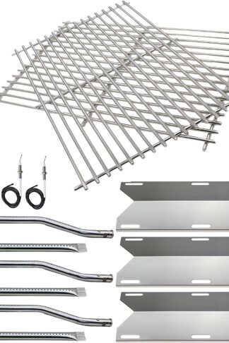 Hisencn BBQ Repair Kit Replacement for Jenn Air Gas Grill 720-0336, 7200336, 720 0336 Grill Stainless Steel Burners, Stainless Steel Heat Plates Stainless Steel Cooking Grid Grates & igniters