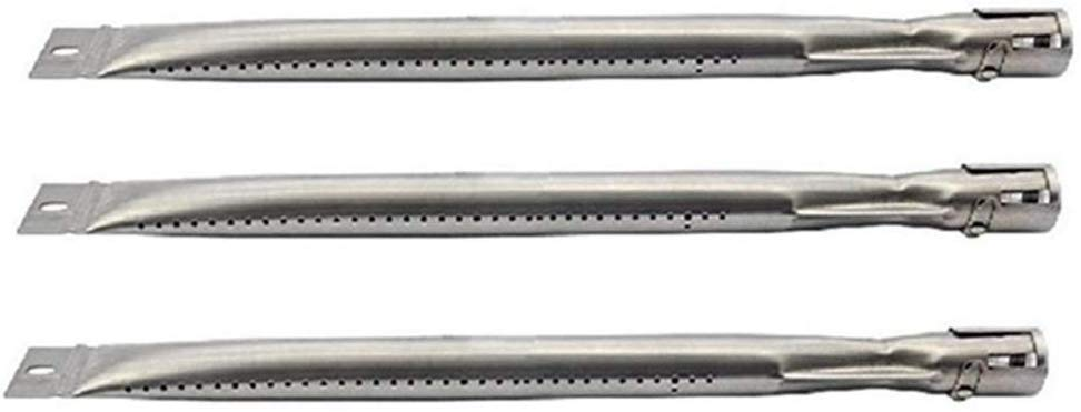 Hongso 14 5/8 inch Grill Pipe Burners Replacement for Sunbeam Nexgrill Grill Master 720-0697 7200697, Brinkmann 810-1415-F 810-9400-0 810-1420-1 Grill, Stainless Steel, 812-7140-0, 3-Pack, SBD251