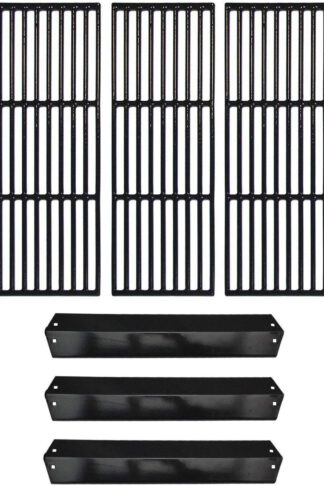 Hongso Repair Kit Porcelain Coated Cast Iron Grill Grates and Porcelain Steel Heat Plates Replacement for Char Griller Models 5050, 3001, 5650, 5072, 3030, 4208, 4000, 3008, King Griller 3008, 5252 Gas Grills