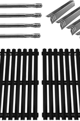 Hongso Repair Kit Replacement Parts for Sunbeam, Nexgrill, Grill Master 720-0697 Gas Grill Models Porcelain Steel Grill Grates, Stainless Steel Burner Tubes & Heat Plates