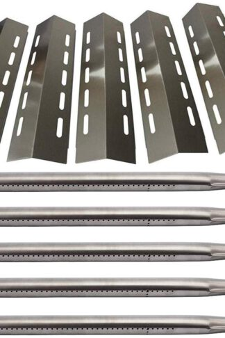 Htanch 30500701(5-Pack) SA3041 (5-Pack) Stainless Steel Heat Plate & Stainless Steel Burner Replacement Ducane 5 Burner 30500701,30500097,30400045,30500702,30400043,30400042 Gas Grill