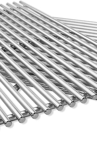 "QuliMetal 19.5"" SUS304 /9MM Cooking Grates for Genesis 300 Series, Genesis E310 E320 E330 S310 S320 S330, Solid Rod Grill Grates Replacement for Weber 7524 7528"