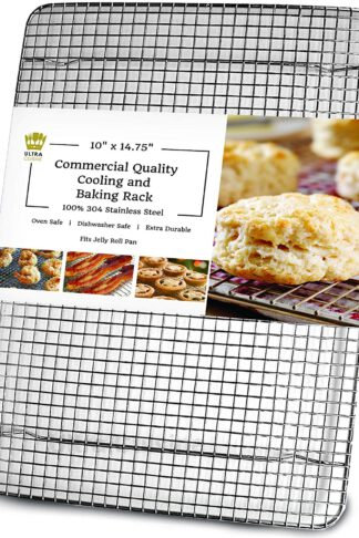 "Ultra Cuisine 100% Stainless Steel Cooling and Baking Rack fits Jelly Roll Sheet Pan - Cool Cookies, Cake, Bread, Pie - Oven Safe Wire Grid for Roasting, Cooking, Grilling, BBQ, Smoking (10"" x 14.75"")"