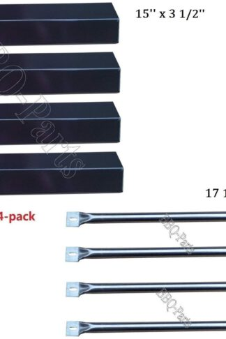 Hongso Grill Repair Kit Amana AM26LP, AM27LP, AM30LP-P, AM33LP-P, Surefire SF278LP, SF308LP Gas Grill Replacement Kit Stainless Steel Burners, Porcelain Heat Plates-4pack (PPF731-SBF731)