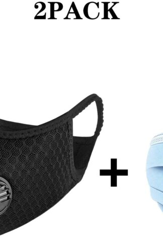 ADESUGATA Anti Pollution Sports Mask(Activated Carbon Air Filters and 2 Valves Included) + Level 3 Respirator Masks(Soft & Comfortable Filter Safety Face Mask) for Dust Protection by ADESUGATA