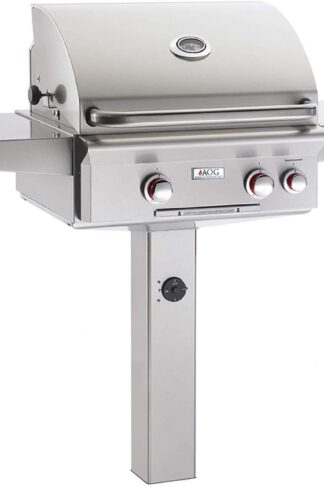 AOG American Outdoor Grill 24PGT T-Series 24 Inch Propane Gas Grill On In-Ground Post with Rotisserie