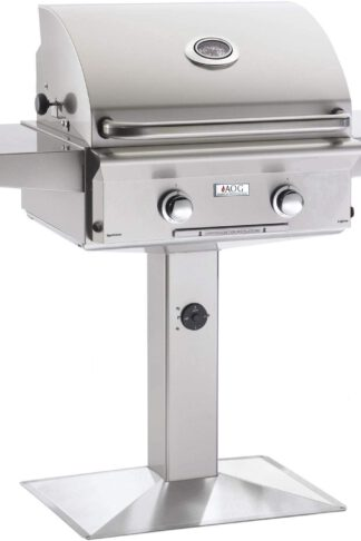 AOG American Outdoor Grill L-Series 24-Inch 2-Burner Natural Gas Grill On Pedestal - 24NPL-00SP